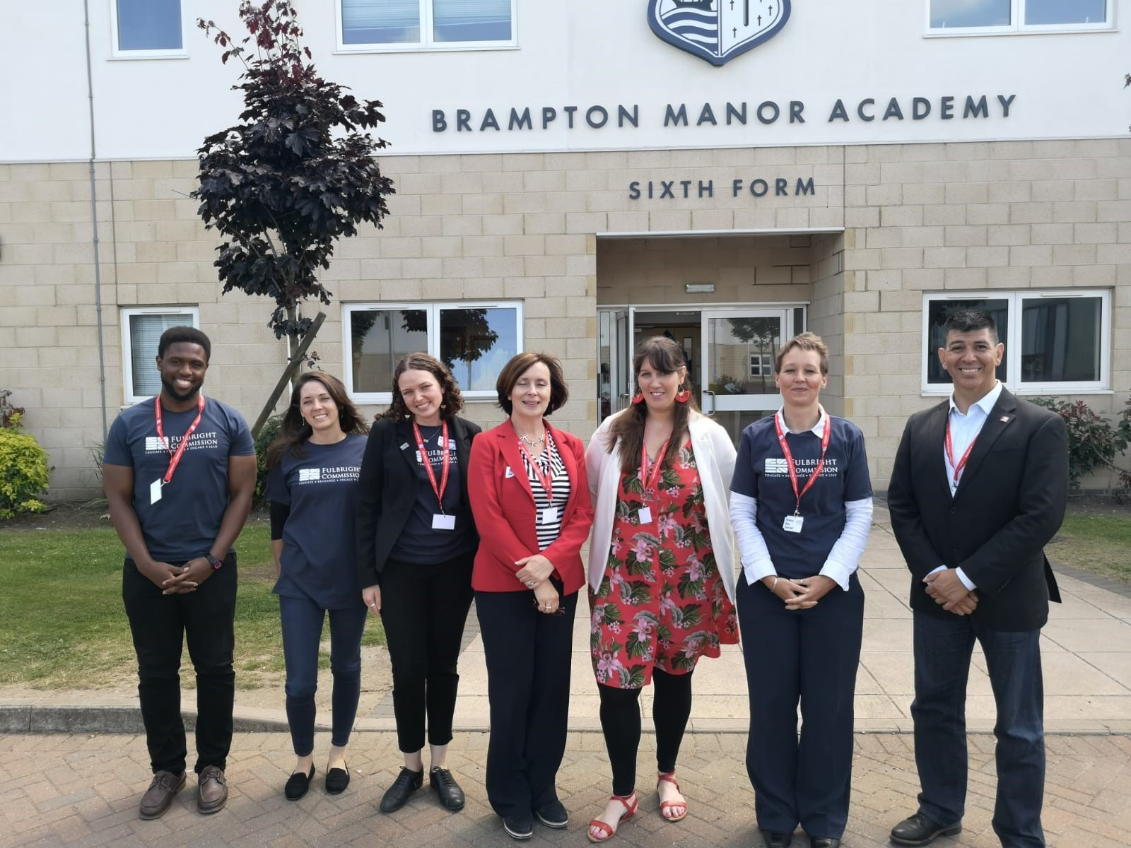 Fulbright staff and grantees at Brampton Manor Academy to help sixth form students with interview practice, spring 2018