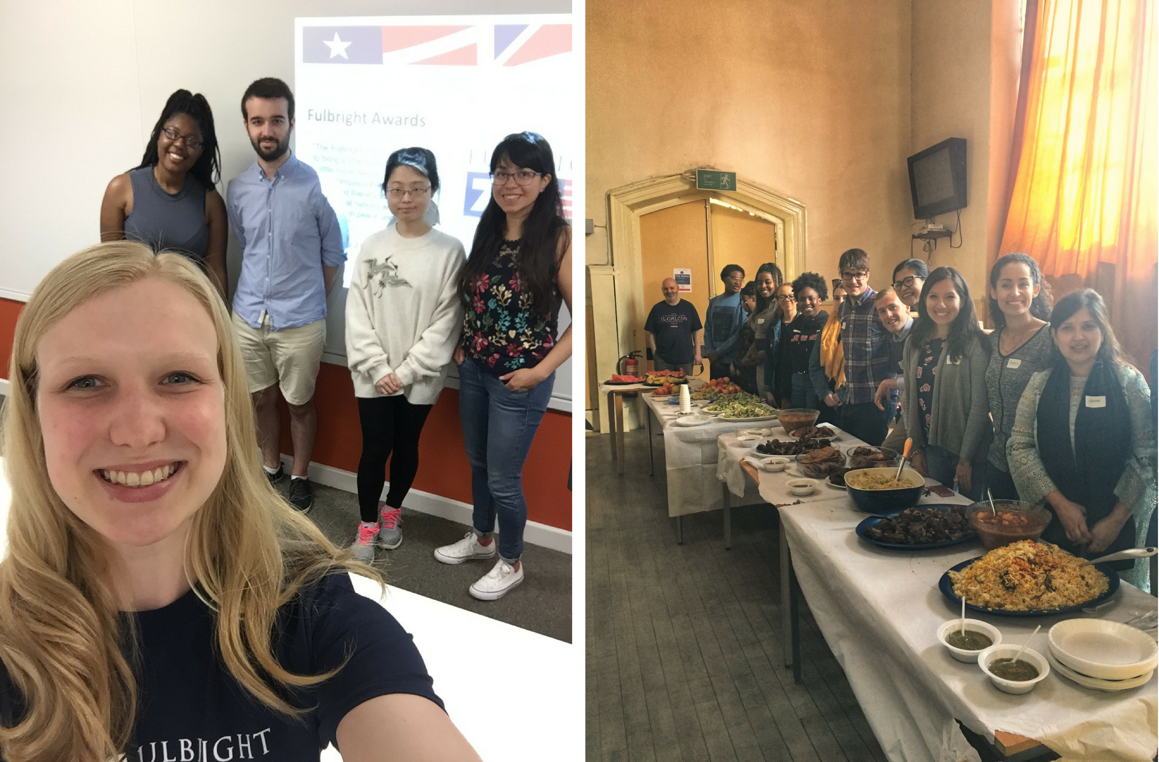 Left: Nina Heyden with students who attended her presentation. Right: Garrett Thompson's health and nutrition workshop in Sheffield.