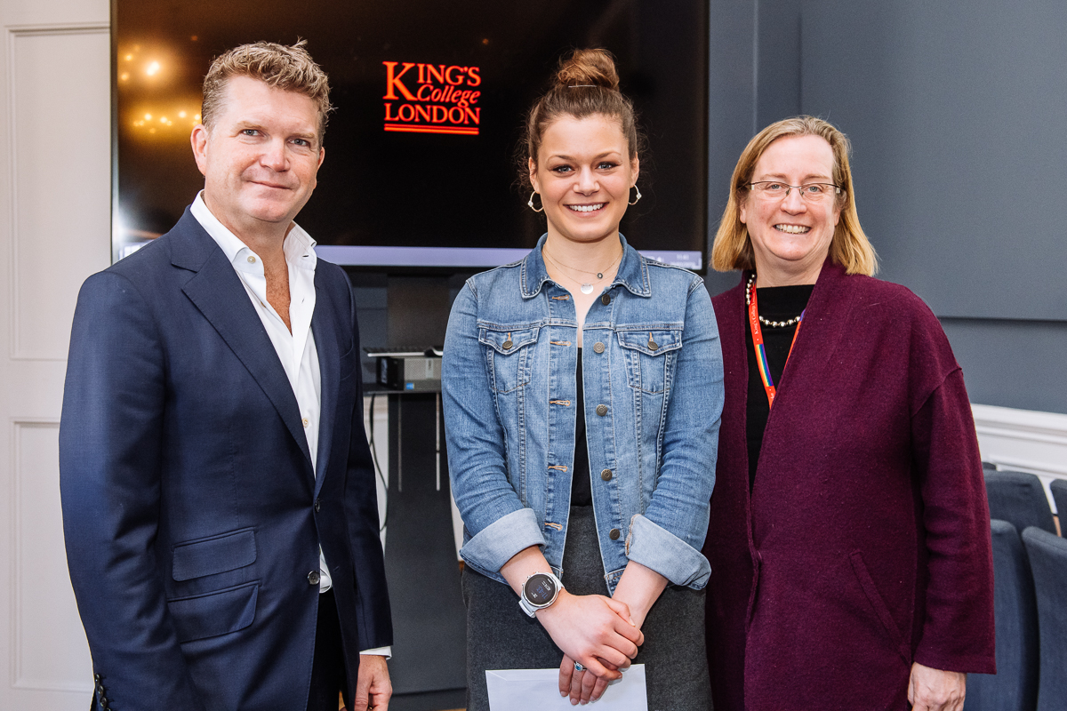 Former US Ambassador Matthew Barzun with Samantha Friedman and King's College Provost/Senior Vice President (Arts & Sciences), Professor Evelyn Welch
